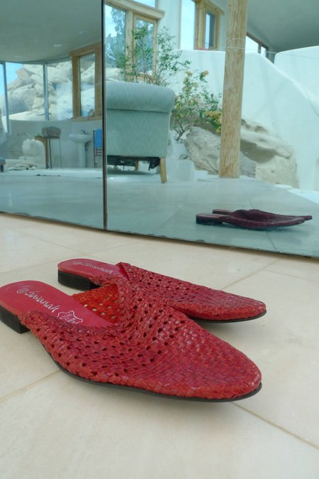 Savanah Woven Slides - RED