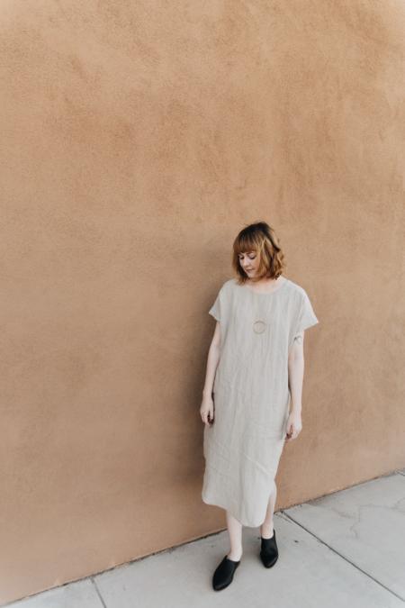 7115 by Szeki Reversible Linen T-Shirt Dress - Oatmeal