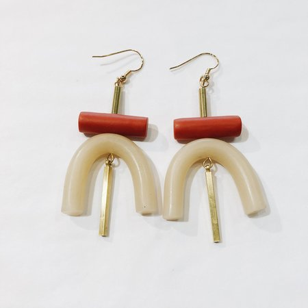 Sonia Gracia Handmade U Earrings - Ecru/Orange
