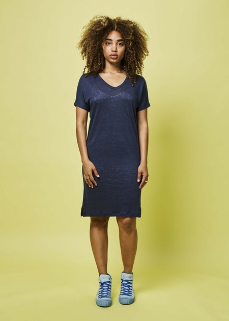 Lost & Found Short Linen T-Shirt Dress - navy