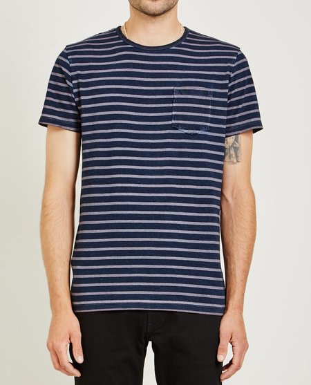 321 CREW NECK STRIPE TEE - DUST PINK