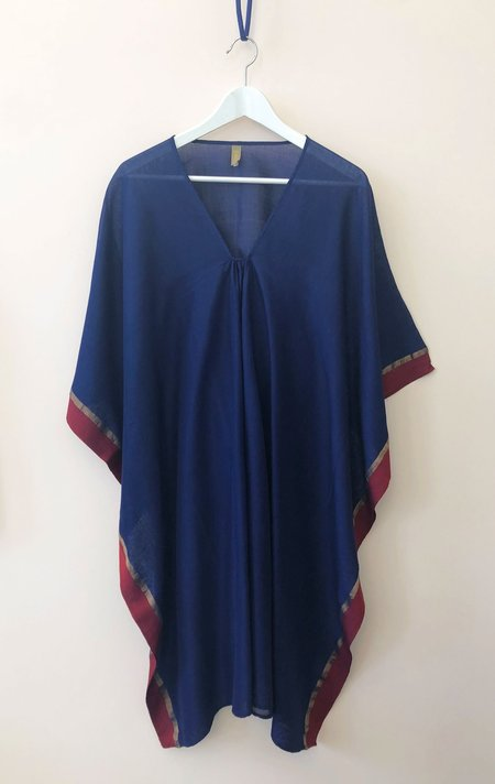 Two Short Caftan with Metallic Border - Violet/blue