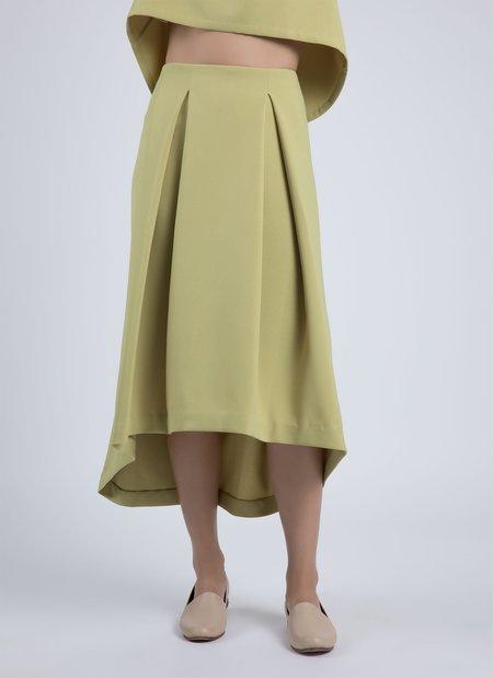 Kaarem Piece Of Ring Pleated Midi Skirt - Avocado