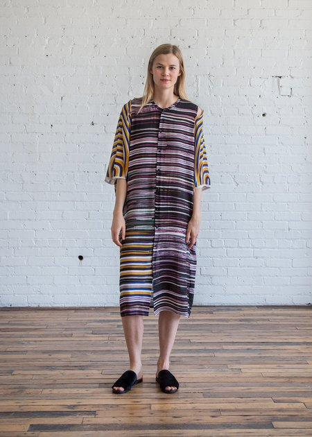 Anntian Circle Arm Dress - Print Paint Stripes