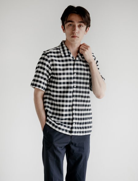 Childs Canopy S/S Buttondown - Navy/White