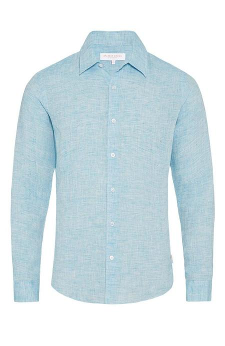 Orlebar Brown Morton Linen Shirt - Azure