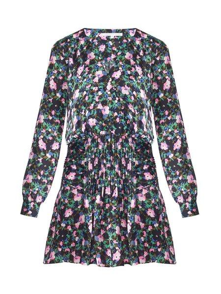 Veronica Beard Naomi Pintuck Floral Print Dress - NAVY/GREEN/PINK
