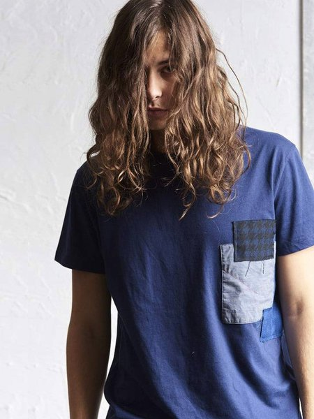 78 STITCHES Patchwork Slouch Tee - NAVY BLUE
