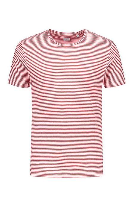 THE GOODPEOPLE Soleil Linen Striped Tee - White/Red