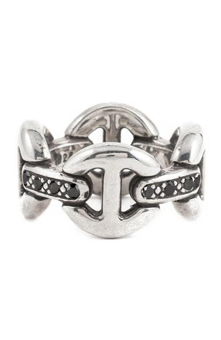 Hoorsenbuhs Sterling Silver Quad-Link Ring with Diamonds
