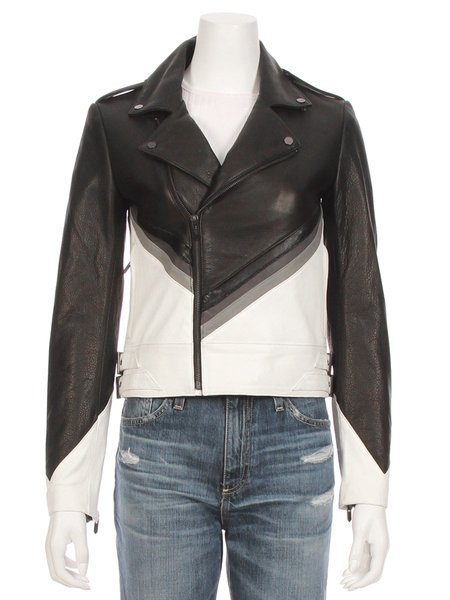THE MIGHTY COMPANY The Vienne Leather Suede Moto Jacket - BLACK/WHITE