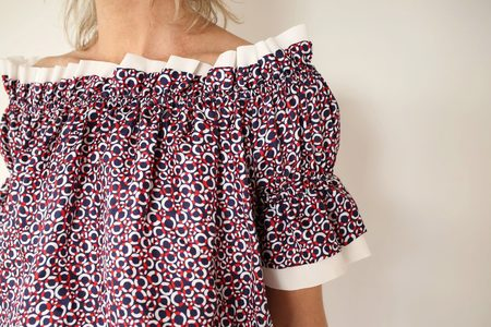 ROXHERM Olivia Boat Neck Top with Short Chiffon Sleeves - White/Red