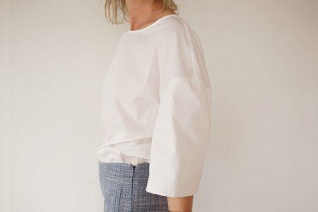 Lemaire Short Sleeve Cotton Tee Shirt - Chalk