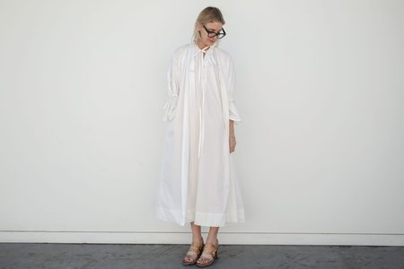 Cherevichkiotvichki Smock Sleep Dress - White