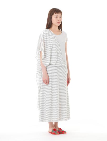 PLAINLESS SARI DRESS - White x Light Gray