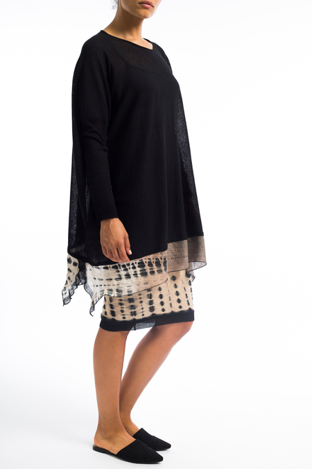 Viviana hand dyed long sleeve tunic blouse - black