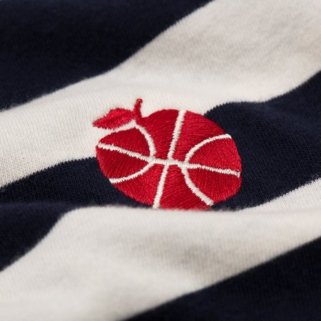 Aimé Leon Dore Long Sleeve Stripe Apple Tee - Navy Stripe