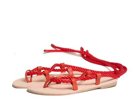 The Palatines helica sandal - saffron satin cord