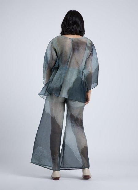 Kaarem Arnate Dropped Sleeve Printed Organza Silk Top - Blue Veinstone