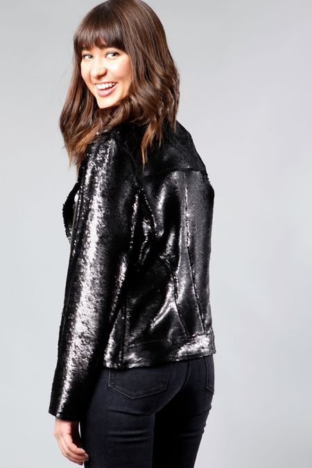 AS by DF London Sequin Moto Jacket - Black