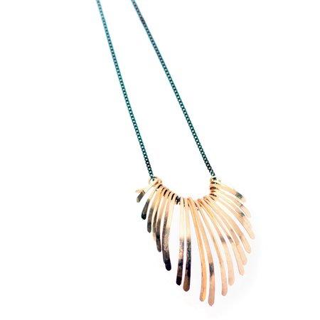 Dana Kellin Dark Silver Gold Fringe Necklace