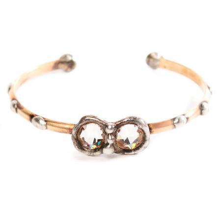 Mikal Winn Brass with Crystal Duet Center Cuff Bracelet