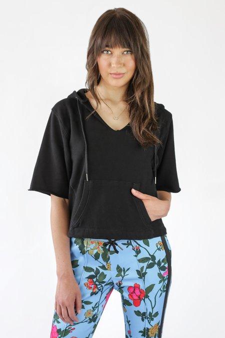 Pam & Gela Cut Off Sleeve Slouchy Hoodie - Black