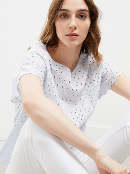 Great Plains Broderie Top - White