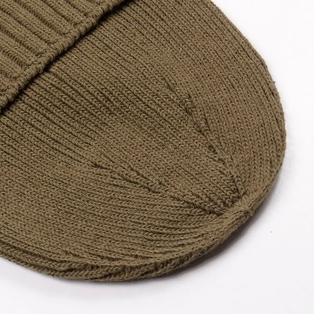 Unisex cableami Recycled Cotton Rib Stitch Beanie - Olive