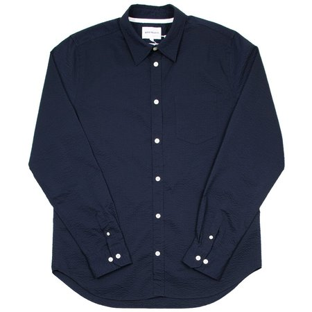 Norse Projects Osvald Seersucker Shirt - Dark Navy