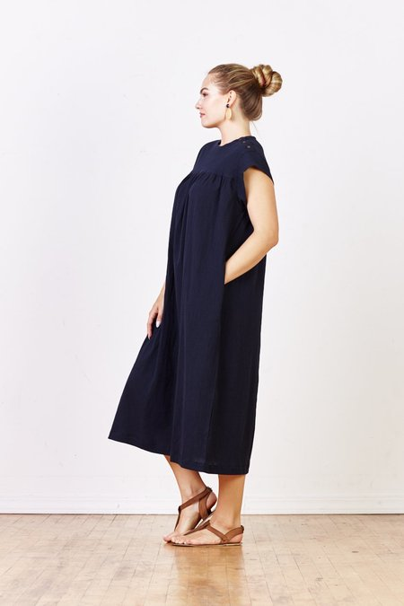 Sunja Link Yoke Dress w/Button Shoulder Detail