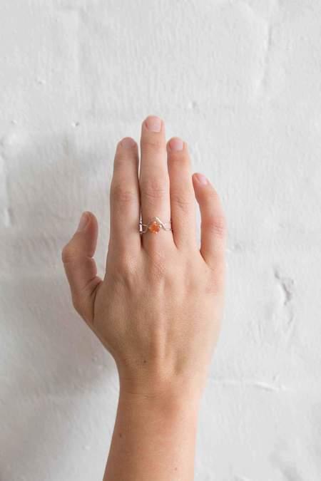 Natalie Martin Offset Round Sunstone Ring - Silver