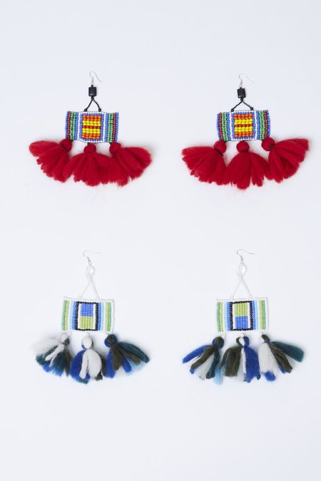 Ports 1961 Square Earrings With Wool