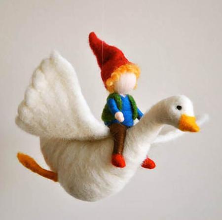 Kids Shop Merci Milo Wool Felt Mobile Hanging Boy and The Goose