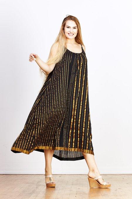 Aish Sultan Slip Dress - Black/Gold Stripe