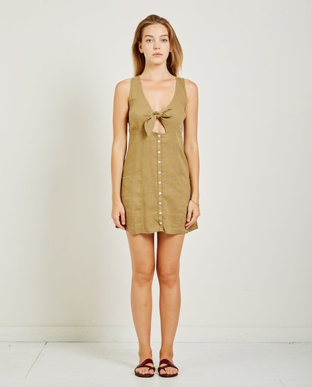 Obey Paradisi Tie Dress - Canteen