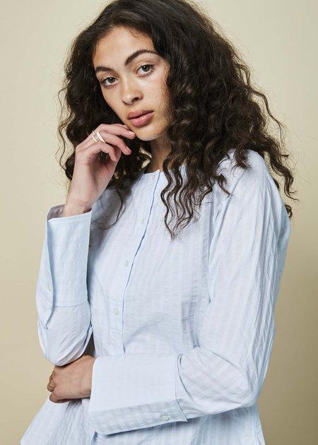 Lareida Tina Collarless Shirt - Icy Blue Stripe