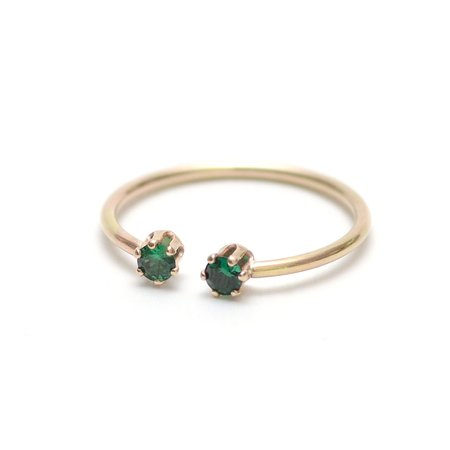Favor Twin Gemstone Stacking Ring - Emerald