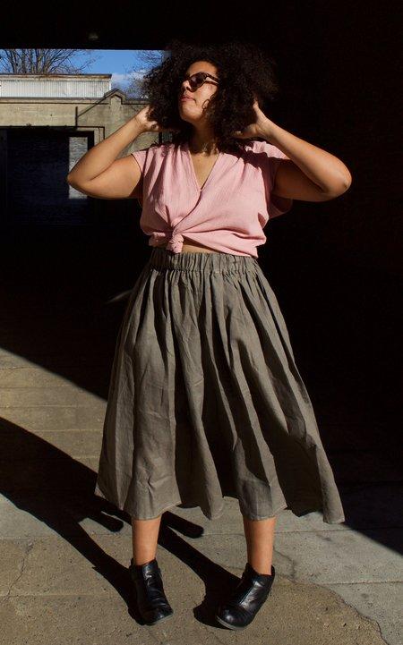 Miranda Bennet Paper Bag Skirt - Grey Linen