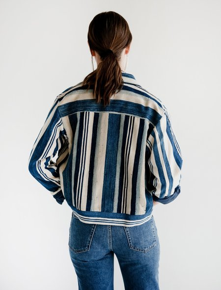 Bode Cote D'Ivoire Country Cloth Jacket - INDIGO STRIPE