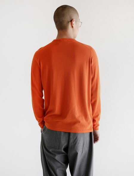 Leon Bara Merino Knit Tee Sweater - Orange