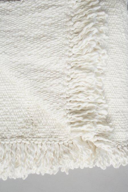 VOZ Apparel Organic Cotton Textile Fringe Blanket - Ivory