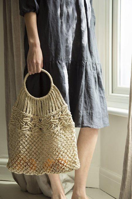 Maison Bengal Jute Macrame Leaf Round Handle Bag