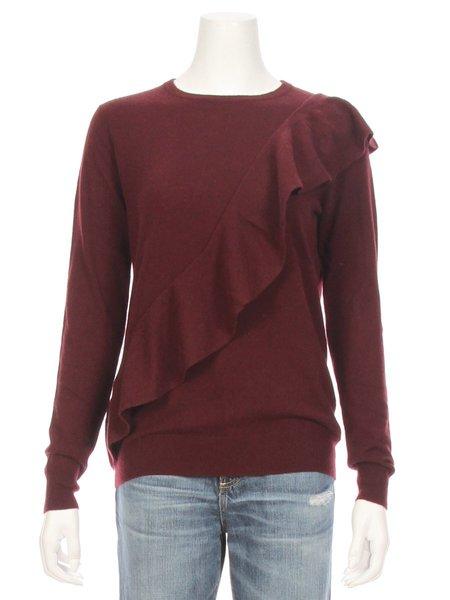 Autumn Cashmere Asymmetric Ruffle Sweater