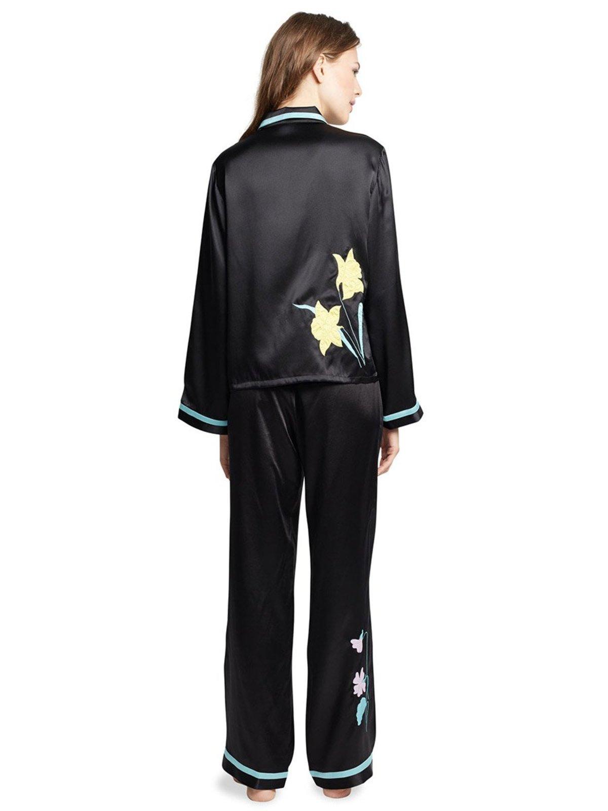 3dcf535095 Morgan Lane Phoenix Secret Garden Silk PJ Shirt - Noir