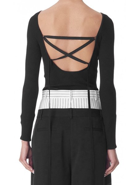 Tibi Scoop Lace Up Back Ribbed Sweater - Black