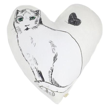 Kids Atsuyo et Akiko Linen Heart Pillow with Large Cat - White