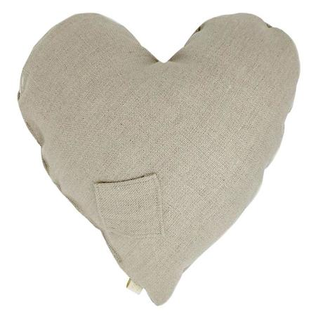 Atsuyo et Akiko Linen Heart Pillow with Small Cat - Natural Coconut