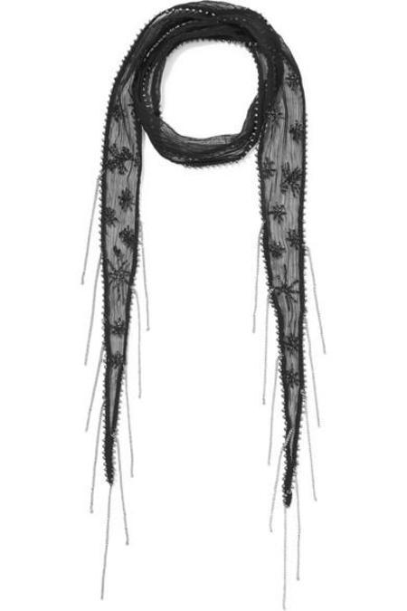 Chan Luu Embellished Embroidered Chiffon Scarf - EBONY/SILVER