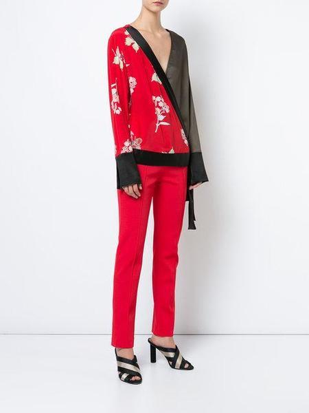 Diane Von Furstenberg Everton Print Envelope Blouse - Lipstick Red